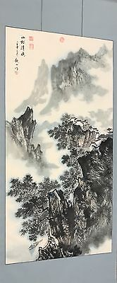 Vintage Chinese Scroll Hand Painted Painting Town In Hills Calligraphy Signed