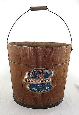"""Rare Antique RED CROWN King Candy Company ST LOUIS MO 12"""" Wood Pail Store Bucket"""