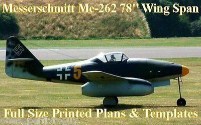 "Messerschmitt ME-262 78"" WS 1/6 Scale RC Airplane PRINTED Plans & Templates"