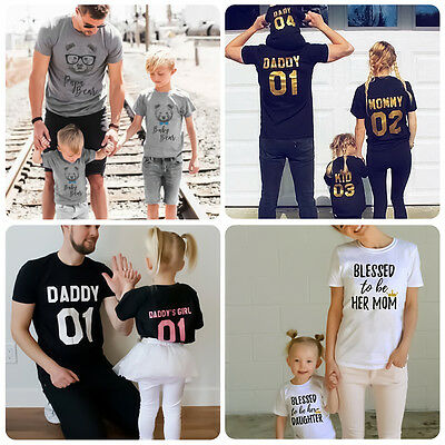 Family Matching Clothes Summer Casual T-shirt Farther Mother Daughter Son Tops