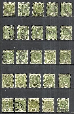 CEYLON SCOTT 233 USED x 25 - 1921 10c OLIVE GREEN KING GEORGE V ISSUE