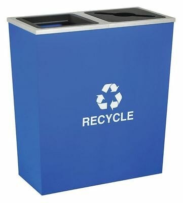 36 gal. Recycling Container Rectangular, Blue Steel & Plastic TOUGH GUY 5UJE8