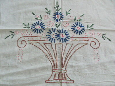 Vintage cotton hand embroidered summer spread royal blue borders and flowers