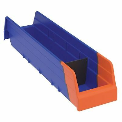 "Blue/Orange Shelf Bin, 17-7/8""L x 4-1/8""W x 4""H AKRO-MILS 36448BLUE"
