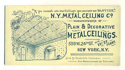 ca. 1890 ANTIQUE Architectural AD INK BLOTTER NY METAL CEILING CO. New York City