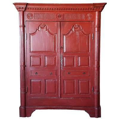 Antique Irish George III Red Painted Pine Cupboard 19th century