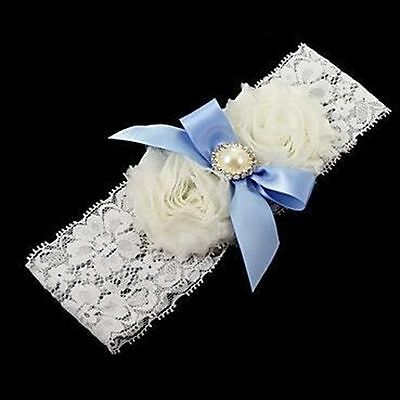 Charming Wedding Flower Blue Satin Bridal Bowknot White Pearl Garter Lace