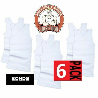 *CHEAP* 6 x BONDS BOYS WHITE CHESTY SINGLET Kids Cotton Underwear Vest Tank Top