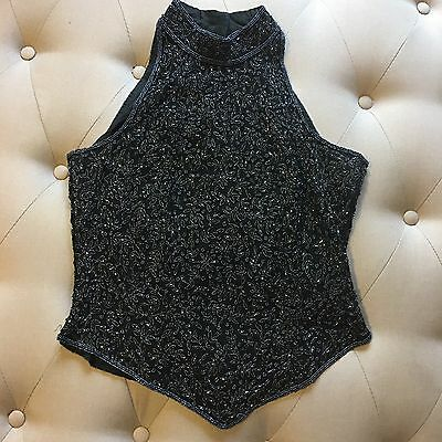 Papell Boutique Evening Heavily Beaded Black Silk Top Sleeveless Formal Party L