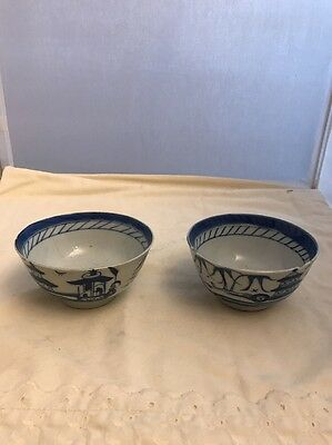 2 ANTIQUE BLUE WHITE CHINESE EXPORT TEA CUP SAUCER CANTON CHINA HANDLELESS 19c