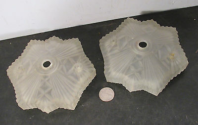 Pair antique vtg Art Deco frosted glass light fixture sconce canopy cap parts