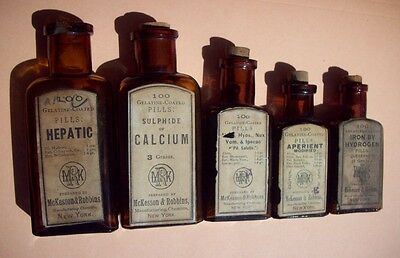 Lot of Five (5) Pharmacy Bottles, McKesson & Robbins, Labels & Contents