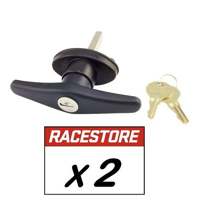 CANOPY T LOCK HANDLE Rear Fixing BLACK - 2 PACK - Keyed Alike, For Ute Canopies