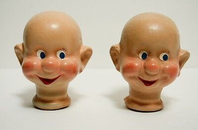 2 Vintage Composition Doll Head Dopey Disney Snow White Seven Dwarves Puppet
