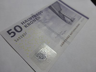 Denmark Danish 50 Kroner Banknote Serial #  540350A, A7112A, 2009 Year.