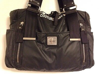 Juicy~Couture Baby~Large Diaper Bag~Black Nylon~Black Leather Trim~Many Pockets