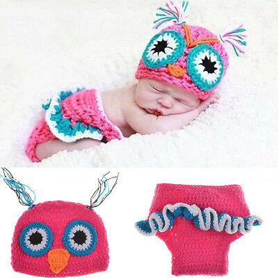 Newborn Baby Girl Boy Crochet Knit Costume Photo Photography Prop Outfits Owl