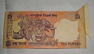 India 10 Rupee Error Note Reserve Bank India,  Dramatic Angel Wing Cutting Error