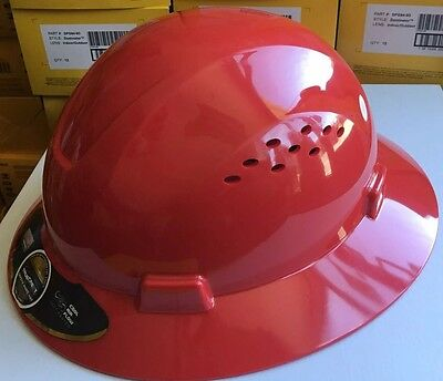 HDPE  Red Full Brim Hard Hat with Fas-trac Suspension