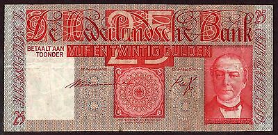 "Netherlands ""WWII ISSUE"" (1941) SCARCE 25-Gulden {SINGLE} VF/VF+ Banknote: P50"