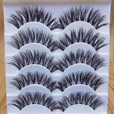 Makeup Handmade 5 Pairs Natural Long Dense False Eyelashes Extension Refined