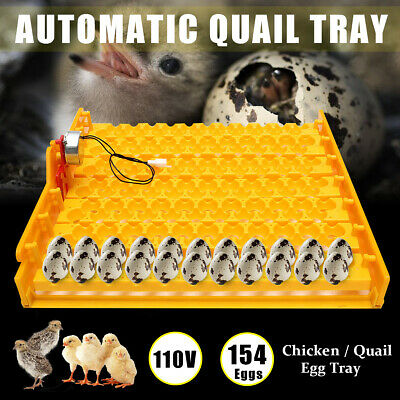 110V 154 Eggs Automatic Incubator Turner Hatch Chicken Bird Quail Poultry Tray
