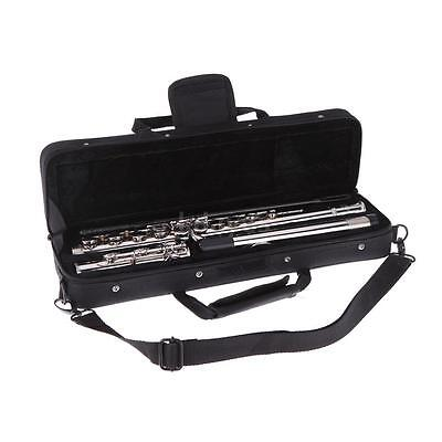 Western Concert Flute Silver Plated 16 Holes C Key w/Padded Bag+Care Kits I4K4