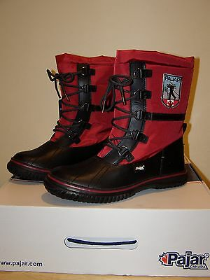 5646f324608e Pajar Grip Low Womens 9 9.5 40 Winter Snow Boots Red Faux Fur Lined  Waterproof