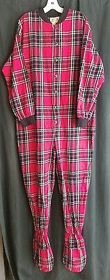 Big Feet Pajama Co. Adult Large Flannel Red Gray Black Plaid Footed Onesie