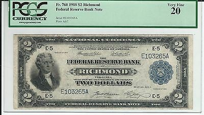 Fr. 760 1918 $2  RICHMOND FEDERAL RESERVE BANK  BATTLESHIP' . PCGS VF 20