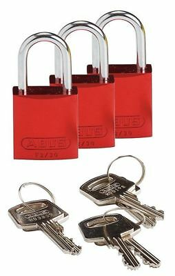 "Lockout Padlock,KA,Red,1-7/16""H,PK3 BRADY 133279"