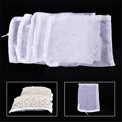 Nylon Aquarium Fish Tank Pond Filter Media Zip Mesh Net Bag Zipper Tool White