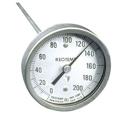 REOTEMP A60PF 0-200F Bimetal Thermom, 3 In Dial, 0 to 200F