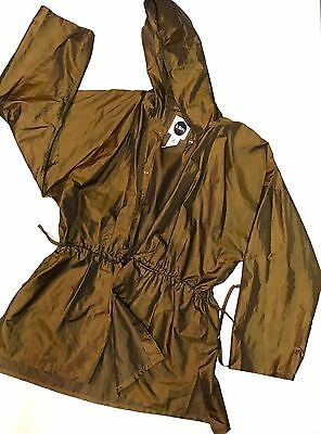 Women's Brown-shimmer TOTES Hooded Windbreaker Long Coat Trench Jacket One Size