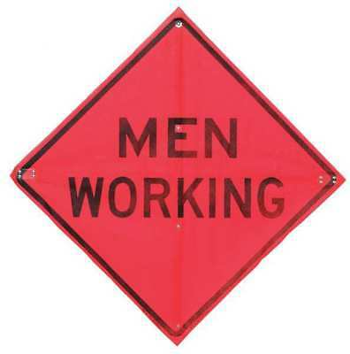 Road Sign,Men Working,36 x 36In USA-SIGN C/36-EMO-3FH-HD MEN WORKING