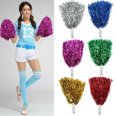 2pc Metallic Cheerleader Cheer Cheerleading Dance Party Dress Pom Poms Xmas MO