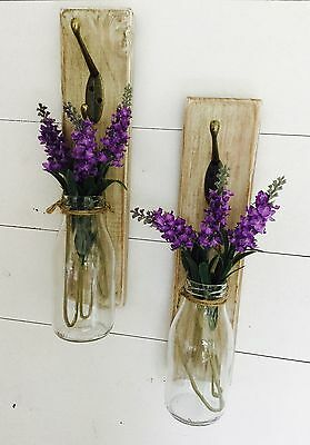 Pair Of Wall Hangings, Shabby Chic, Milk Bottle Vase, Gift, Decoration