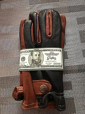 "NEW Grifter ""Classics"" Leather Motorcycle Gloves Made In USA"