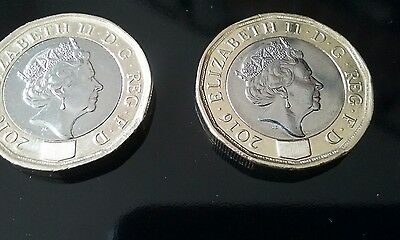 2 NEW ONE POUND COINS DATED 2016 one without hologram