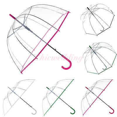Dome/Normal Hook Automatic Open Clear Transparent Rain Umbrella with Color Trim