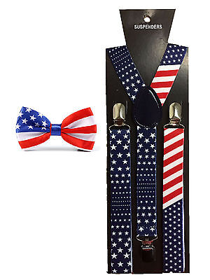 USA Braces Bow Tie - American Flag Stars and Stripes Suspenders 4th July