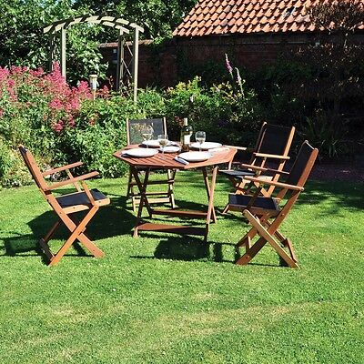 Kingfisher 5 Piece Island Octagonal Wooden Garden Furniture Set 4 Chairs & Table