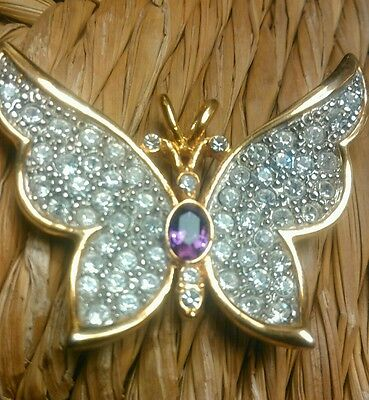 VINTAGE Signed CRYSTAL RHINESTONES / AMETHYST BUTTERFLY PENDANT