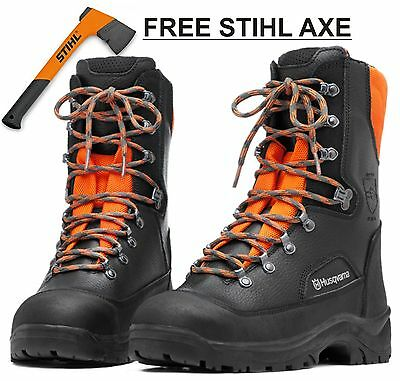 NEW Husqvarna Protective Leather Chainsaw Boots Classic 20. FREE STIHL AXE!!!!!!