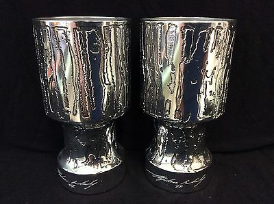 Pair of Signed Stephen Daly - Don Sheil -  Sheil Abbey Tall Glasses