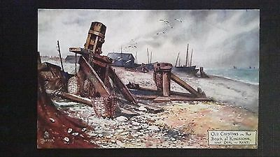 Cpsm Oilette Old Capstans On The Beach At Kingsdown Near Deal Kent By Jotter