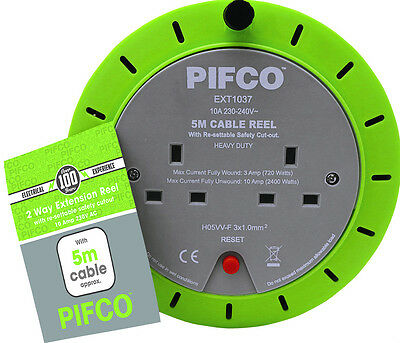 Pifco 5M 2 Way 10 AMP Electric Extension Cable Reel Mains Plug & Socket Lead UK