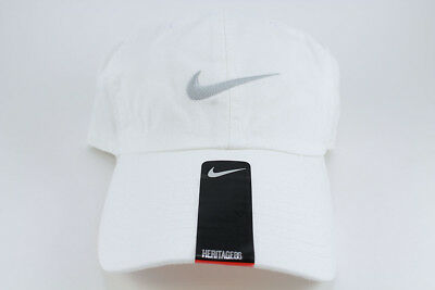 Nike Swoosh Heritage 86 Adjustable Cap Hat White/wolf Gray Cotton Training Mens