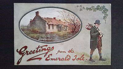 Cpsm Oilette An Irish Cottage Greetings From The Emerald Isle