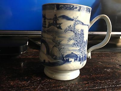 antique 18th century chinese blue and white large cup